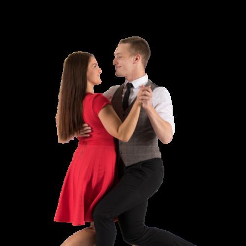 Nainen ja mies tanssii hidasta valssia